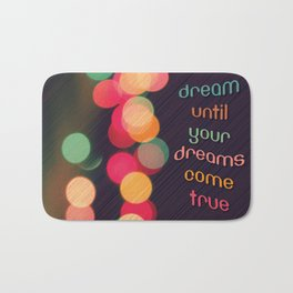 Vintage Colorful Christmas Bokeh Bath Mat