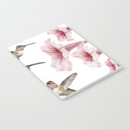 hummingbirds and pink flowers 2 Notebook