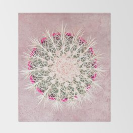 Cactus mandala - blush concrete Throw Blanket