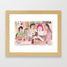 Girl With Pink Hair Framed Art Print