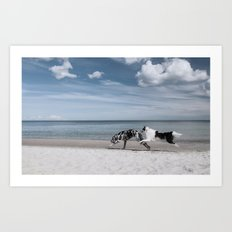 Running dogs at the beach Art Print