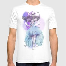 God Save McQueen MEDIUM White Mens Fitted Tee
