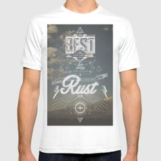 RUST White Mens Fitted Tee MEDIUM