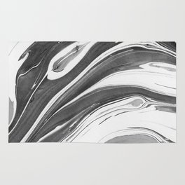 Black and White Ink Marbling 02 Rug