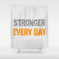 workout Shower Curtains featuring Workout Collection: Stronger Every Day by Kat Mun