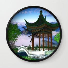 Pagoda Fantasy Scene Wall Clock