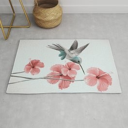 Hummingbird with Hibiscus Rug