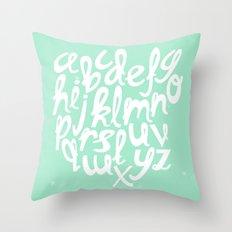 MINT ALPHABET Throw Pillow