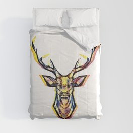 A deer head as a colorful picture in a watercolor style Comforters