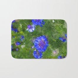 Summer Green Meadow and Blue Flowers Bath Mat