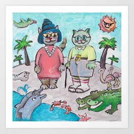 Retired Florida Cats Art Print