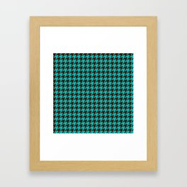 Turquoise Blue Brown Houndstooth Pattern Framed Art Print