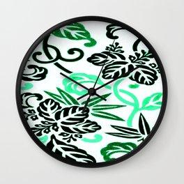 Japanese Leaf Pattern Aqua Mint Green Wall Clock