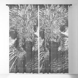 furry fish otter splatter watercolor black white Sheer Curtain