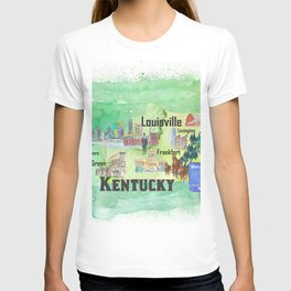 Kentucky USA State Illustrated Travel Poster Favorite Tourist Map T-shirt