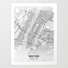 New york city map white Art Print