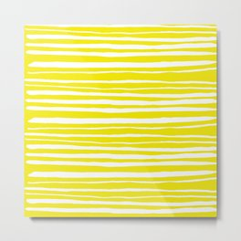 Small Sun Yellow Handdrawn horizontal Beach Stripes - Mix and Match with Simplicity of Life Metal Print