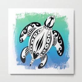 Sea Turtle Tribal Doodle Teal Brush Metal Print