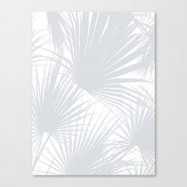 Pale Grey Tropical Leaves Canvas Print