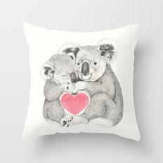 Koalas love hugs Throw Pillow