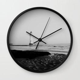 Black & white Lighthouse print Wall Clock