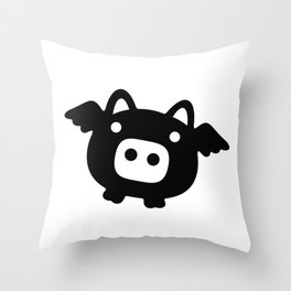 Pigs Will Fly (b&w) Throw Pillow