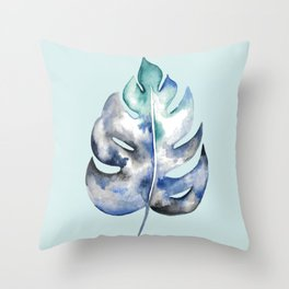 Mint Palm Leaf Throw Pillow