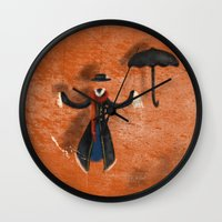 mary poppins Wall Clocks featuring Mary Poppins by fedralita