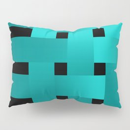 Abstraction .Weave turquoise satin ribbons . Patchwork . Pillow Sham