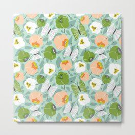Butterfly Blossom Floral - Sage Green Metal Print