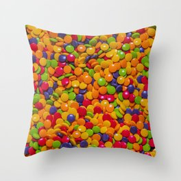 Sour Candy Buttons. Real Candy Pattern Throw Pillow