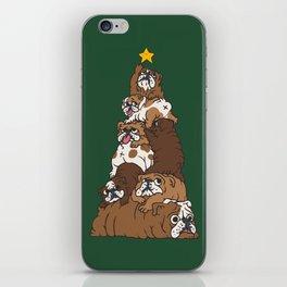 Christmas Tree English Bulldog iPhone Skin