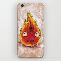 calcifer iPhone & iPod Skins featuring Burning Calcifer by KeithKarloff
