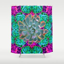 COLORFUL GREY, GREEN PINK GARDEN SUCCULENTS Shower Curtain