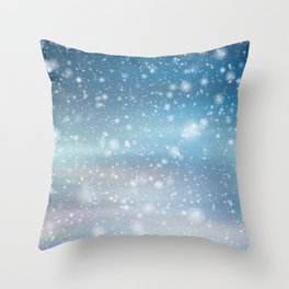 Snow Bokeh Blue Pattern Winter Snowing Abstract Throw Pillow