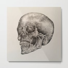 Original Human Skull Pencil Drawing Metal Print