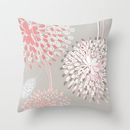 flowers gray 2 Throw Pillow
