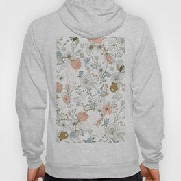 Abstract modern coral white pastel rustic floral Hoody