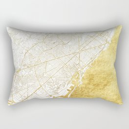 Barcelona Map Gold Rectangular Pillow