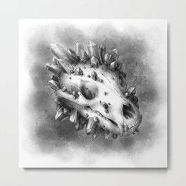 Bear Skull and Crystals Metal Print