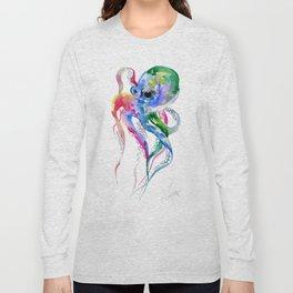 Rainbow Octopus, blue green octopus decor Long Sleeve T-shirt