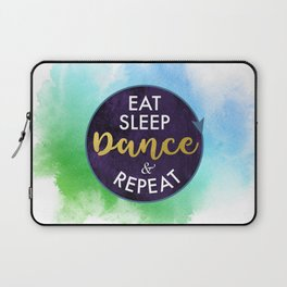 Eat Sleep Dance and Repeat faux gold foil glitter letters typography design for Dancer Laptop Sleeve