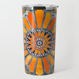 Celebrating the 70's - tangerine orange watercolor on grey Travel Mug
