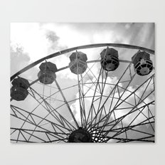 Black and White Carnival Ferris Wheel - Carnival Rides Black and White Prints Home Decor Canvas Print