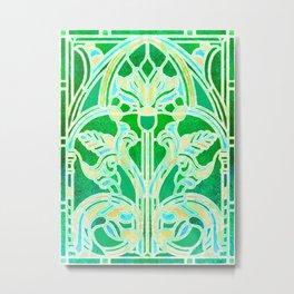 Art Nouveau Lime Green and Gold Batik Texture Metal Print