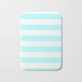 Horizontal Stripes - White and Celeste Cyan Bath Mat
