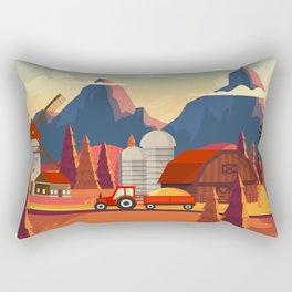 Rural Farmland Countryside Landscape Illustration Rectangular Pillow