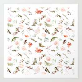 Coral pink green watercolor hand painted floral Art Print