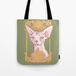 Royal Hairless Sphynx Cat in a Gold Baroque Frame - Green Background Tote Bag