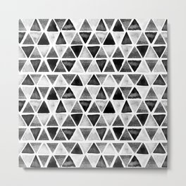 Black and White Ink painted Triangles Metal Print